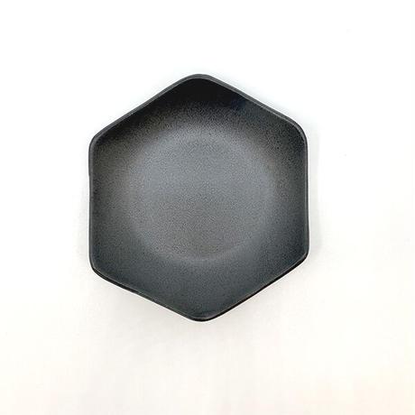 笠間焼 / 六角小皿(黒)