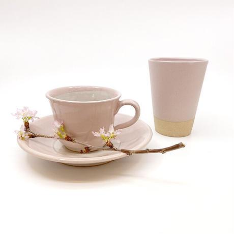 笠間焼 / カップとソーサーのセット(桜貝)