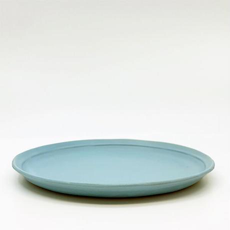 笠間焼 / うすくて軽い丸皿(M)  艶消しの水色