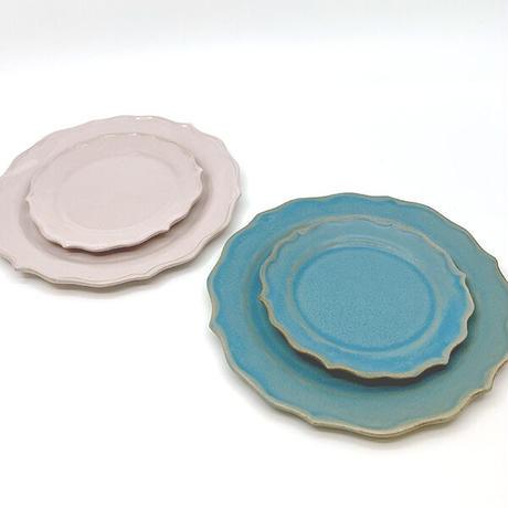 笠間焼 / うすくて軽い輪花皿ブルーム(M)(ターコイズ)