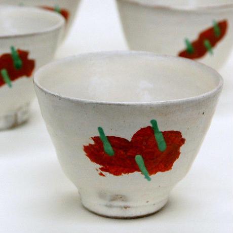 笠間焼 / 赤絵の湯のみ(姫りんご)