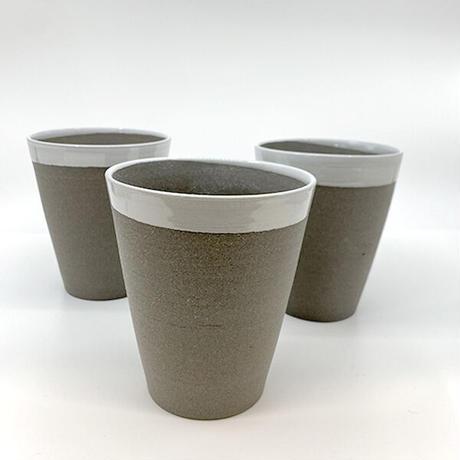 笠間焼 / 焼締ビアカップ(白)
