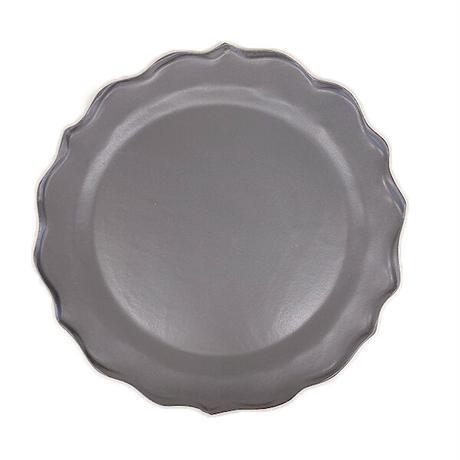 笠間焼 / うすくて軽い輪花皿ブルーム(L)(黒)