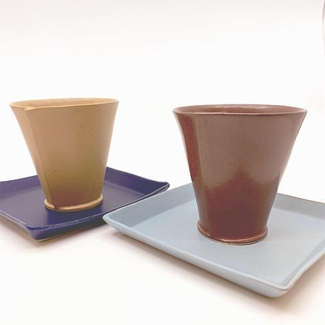 笠間焼 / うすくて軽いタタラタンブラー(艶茶)