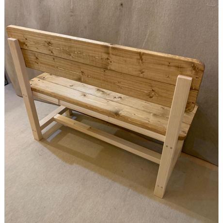 背板付きベンチ(ダーク、脚:無垢)