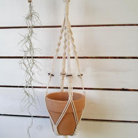 plant hanger (sea glass 茶×白)