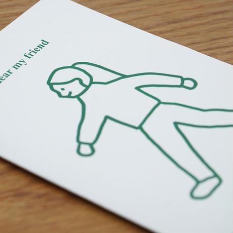 WALK WALK girl green   Pressed Card