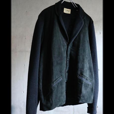 50s USA   black nubuck  leather / wool knit switching tailored jacket