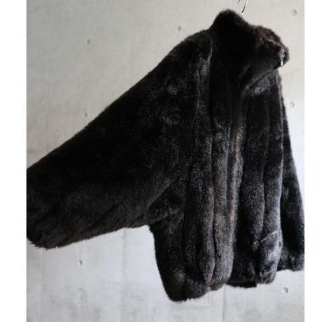 80s USA  fake fur dolman sleeve & stand neck zip up jacket
