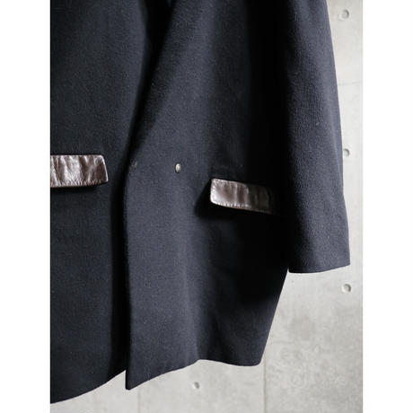 France made deerskin leather switching cashmere half coat