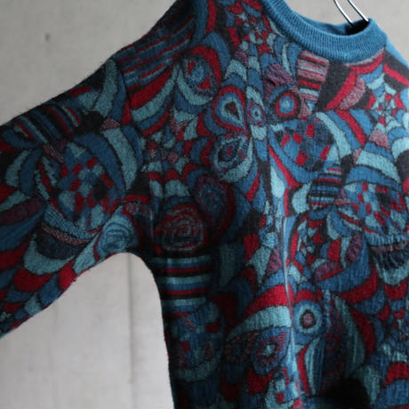 80s Australia made psychedelic art wool knit