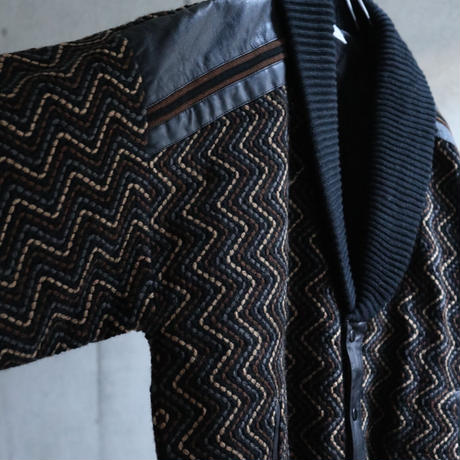 80s EURO  Jacquard design snap jacket