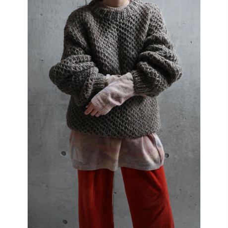HEAVY WOOL HAND KNITTED FISHNET SWEATER
