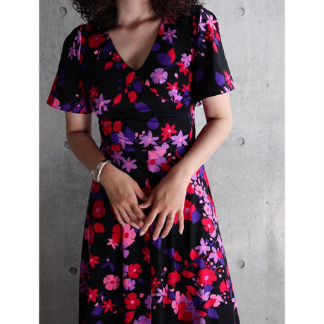 70S ENGLAND JERSEY FABRIC FLORAL DRESS