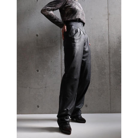 80S ITALY LAMB LEATHER HIGH WAIST PANTS