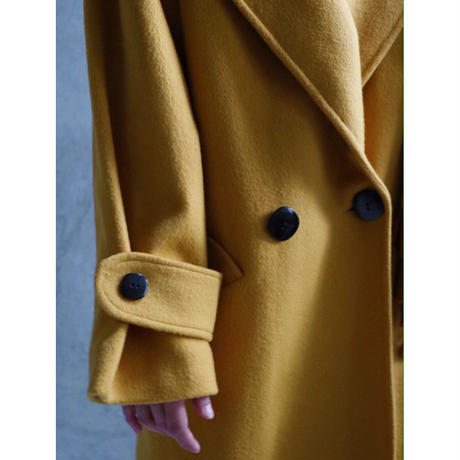 80S USA BACK PLEATS MUSTERED COLOR WOOL COAT