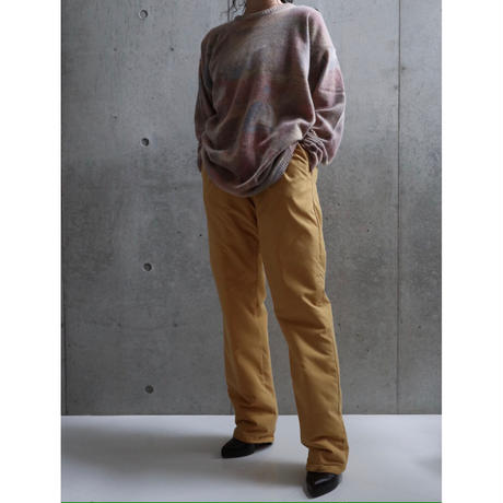 MUSTERED COLOR SILK PADDING PANTS