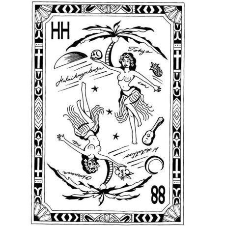 HAKAIHAYABUSA × W-oki Skin Ink Tattoo HH Hula Grill T-Shirts ( SUMI )