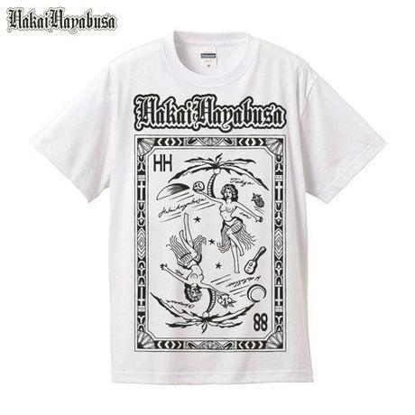 HAKAIHAYABUSA × W-oki Skin Ink Tattoo HH Hula Grill T-Shirts ( WHITE )