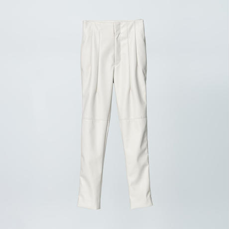 high wasted fake leather pants / white