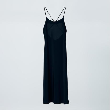 cross back long dress / black