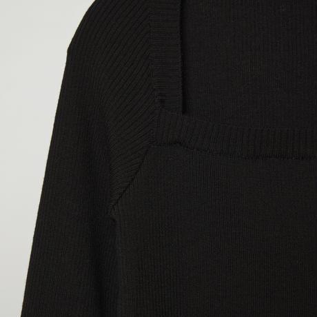square neck trick knit / black