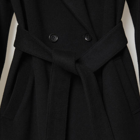 doble belted wool coat / black