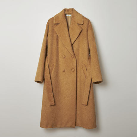 doble belted wool shaggy coat / beige
