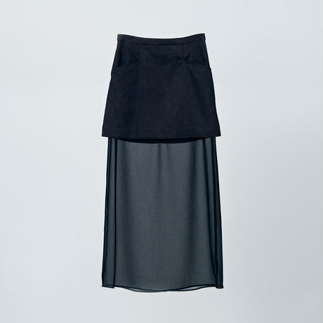 two face long skirts / black