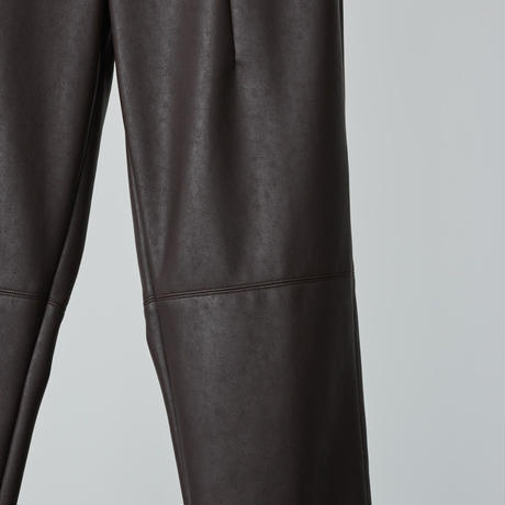 high wasted fake leather pants/ dark brown