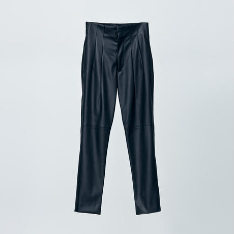high wasted fake leather pants / black