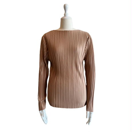 Boat neck pleats tops【St013-BRN】