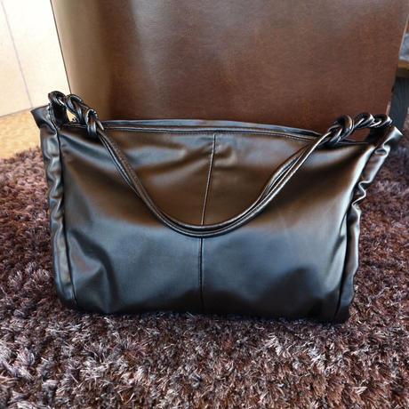 one-shoulder tote bag -black-【Si081-BLK】