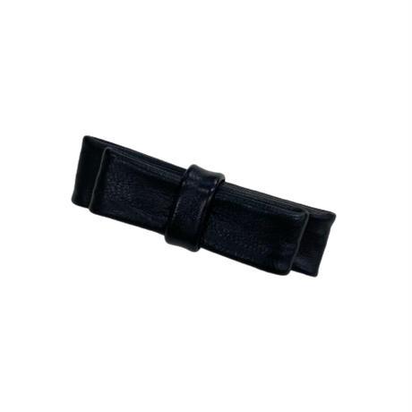 leather ribbon barrette【Si090】