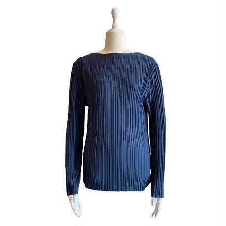 Boat neck pleats tops【St013-NVY】