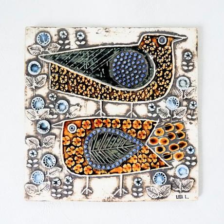 Lisa Larson UNIK Faglar/リサラーソン UNIK陶板 『二羽の鳥』