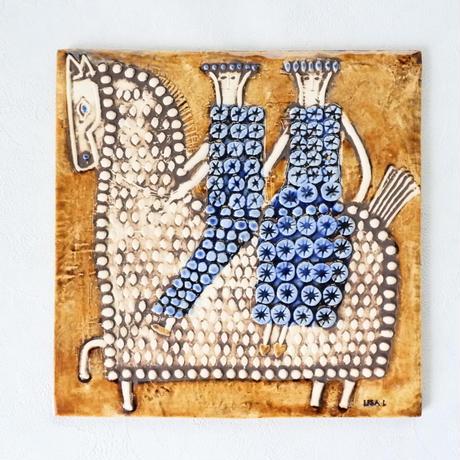 GUSTAVSBERG/Lisa Larson /Ryttare(グスタフスベリ/リサ・ラーソン /リッタレ・騎手)壁掛け陶板 商品No.RY1