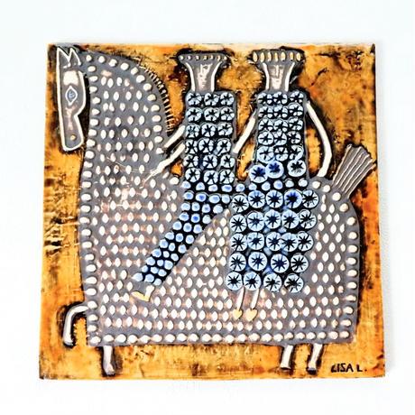 GUSTAVSBERG/Lisa Larson /Ryttare(グスタフスベリ/リサ・ラーソン /リッタレ・騎手)壁掛け陶板 商品No.RY2