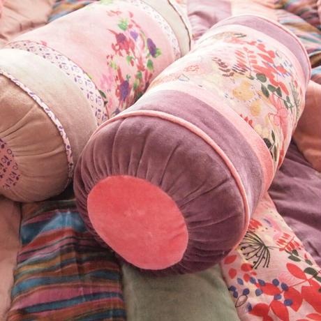 bagaille バガイユ Polochon クッション リーフ柄 pink