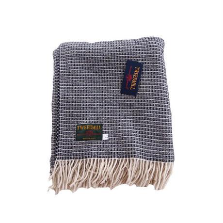 Tweedmill ツイードミル Merino reversible lattico weaven throw 130x180 navy