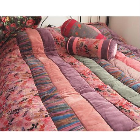 Bagaille バガイユ キルト  リーフ柄 pink 160x160