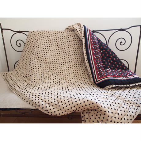 Le petit Lucas プチルカ Reversible quilt 100x100 smallrose dots M