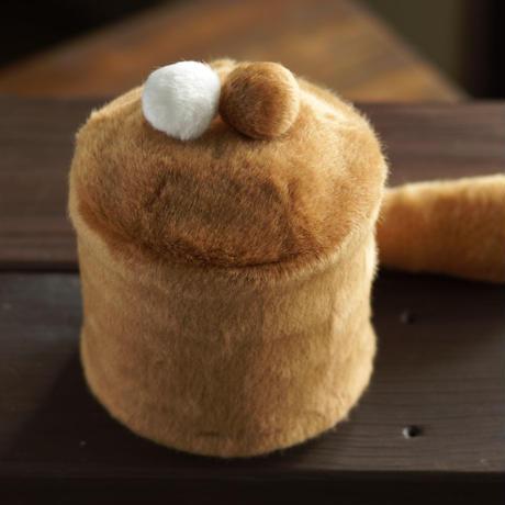 ペット用骨壺カバー / サイズ:4寸 / ベース:ブラウン / ボンボン:白・ブラウン / しっぽ:ブラウン(S209)
