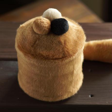 ペット用骨壺カバー / サイズ:4寸 / ベース:ブラウン / ボンボン:ブラウン・黒・クリーム / しっぽ:ブラウン(S214)
