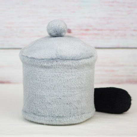 ペット用骨壺カバー / サイズ:4寸 / ベース:グレー / ボンボン:グレー / しっぽ:黒(S155)