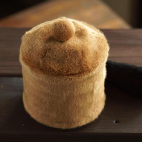 ペット用骨壺カバー / サイズ:4寸 / ベース:ブラウン / ボンボン:ブラウン / しっぽ:黒(S200)