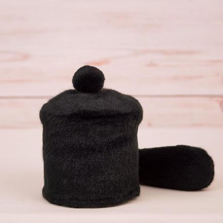 ペット用骨壺カバー / サイズ:3寸 / ベース:黒 / ボンボン:黒 / しっぽ:黒(S073)