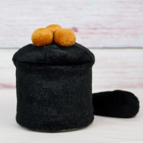 ペット用骨壺カバー / サイズ:4寸 / ベース:黒 / ボンボン:ブラウン・ブラウン・ブラウン / しっぽ:黒(S187)