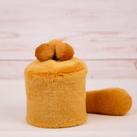 ペット用骨壺カバー / サイズ:3寸 / ベース:ブラウン / ボンボン:ブラウン・ブラウン・ブラウン / しっぽ:ブラウン(S054)