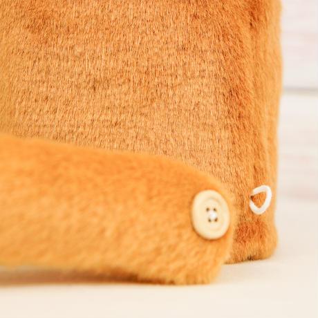 ペット用骨壺カバー / サイズ:4寸 / ベース:ブラウン / ボンボン:白・ブラウン / しっぽ:クリーム(S208)